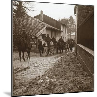 Mounted French soldiers with artillery, c1914-c1918-Unknown-Mounted Photographic Print