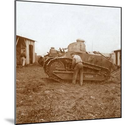 Tank maintenance, c1914-c1918-Unknown-Mounted Photographic Print