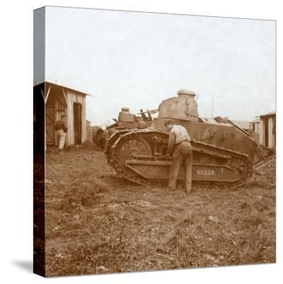 Tank maintenance, c1914-c1918-Unknown-Stretched Canvas Print