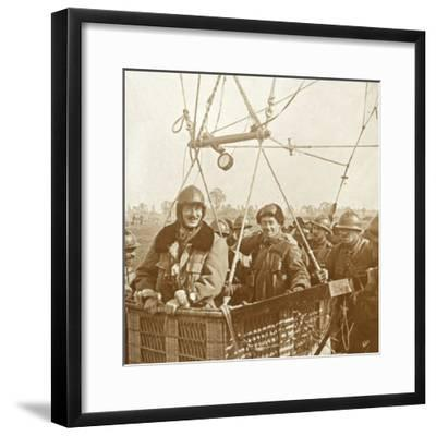 Men in observation balloon basket, c1914-c1918-Unknown-Framed Photographic Print