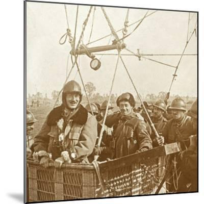 Men in observation balloon basket, c1914-c1918-Unknown-Mounted Photographic Print