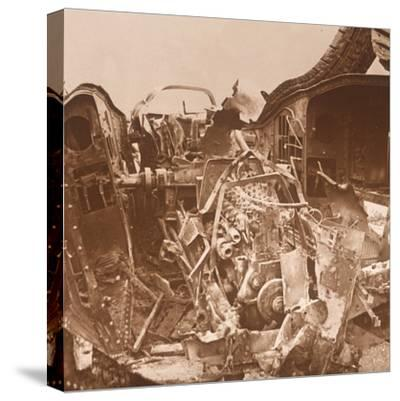 Interior of a tank which has been torn open, c1914-c1918-Unknown-Stretched Canvas Print