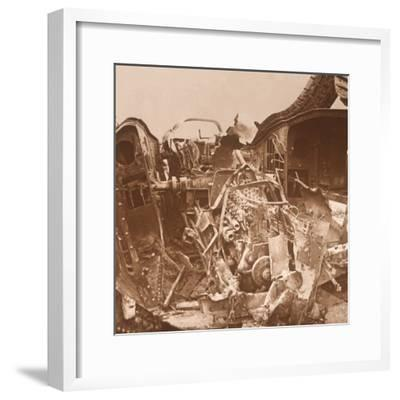 Interior of a tank which has been torn open, c1914-c1918-Unknown-Framed Photographic Print