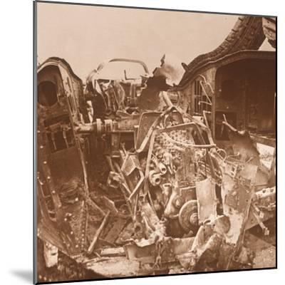 Interior of a tank which has been torn open, c1914-c1918-Unknown-Mounted Photographic Print