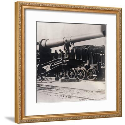 Heavy artillery on a train, c1914-c1918-Unknown-Framed Photographic Print