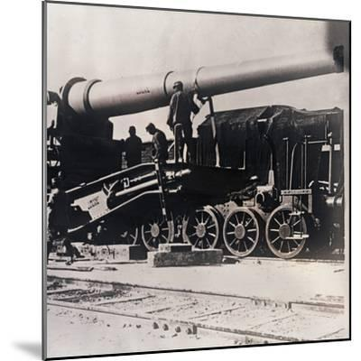 Heavy artillery on a train, c1914-c1918-Unknown-Mounted Photographic Print