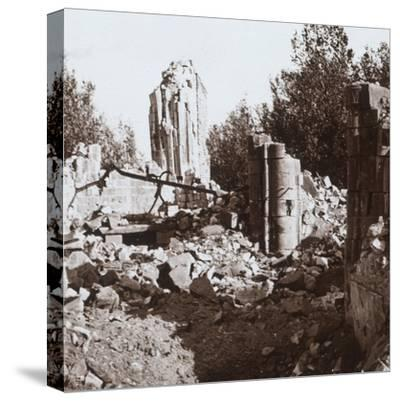 Ruined chateau, Pinon, northern France, c1914-c1918-Unknown-Stretched Canvas Print