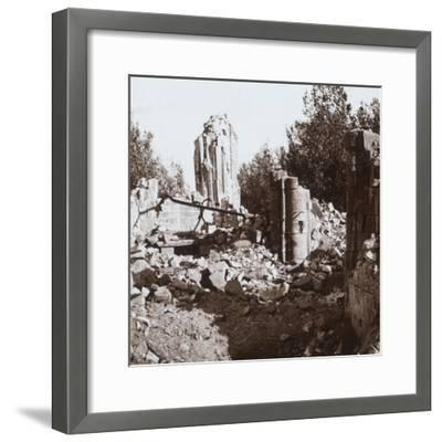 Ruined chateau, Pinon, northern France, c1914-c1918-Unknown-Framed Photographic Print