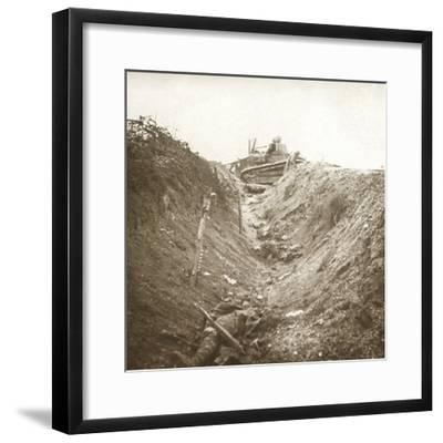 Destroyed tank and dead body, Auberives, France, c1914-c1918-Unknown-Framed Photographic Print