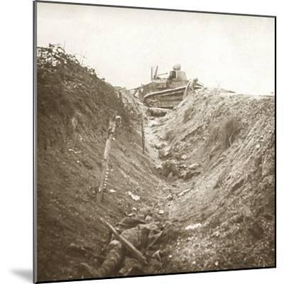 Destroyed tank and dead body, Auberives, France, c1914-c1918-Unknown-Mounted Photographic Print