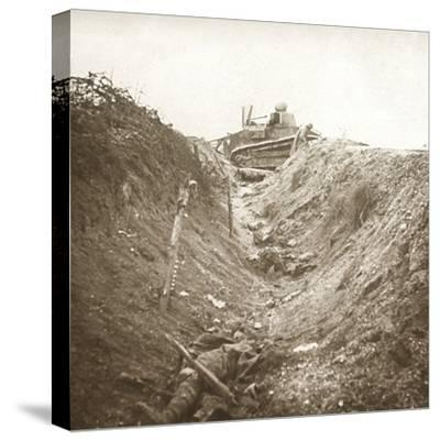 Destroyed tank and dead body, Auberives, France, c1914-c1918-Unknown-Stretched Canvas Print