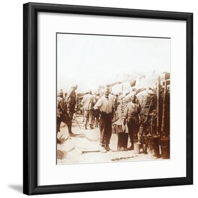 Soldiers in the trenches, Belgium, c1914-c1918-Unknown-Framed Photographic Print