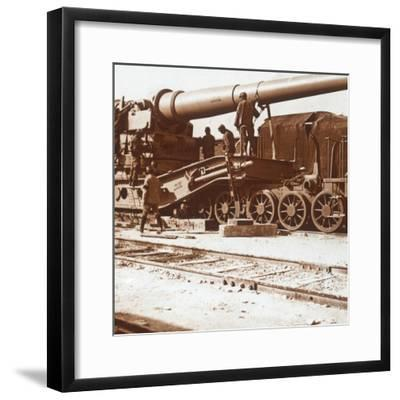 370 railway gun named 'Louise', Mailly, northern France, c1914-c1918-Unknown-Framed Photographic Print