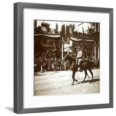 General Toulorge at victory parade, Paris, France, c1918-c1919-Unknown-Framed Photographic Print