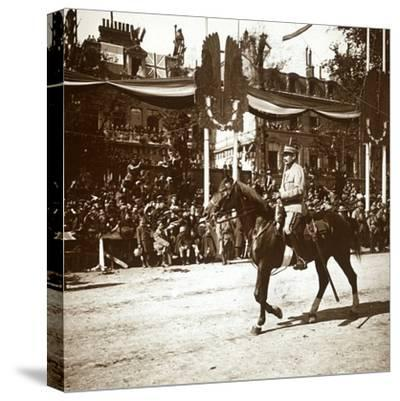 General Toulorge at victory parade, Paris, France, c1918-c1919-Unknown-Stretched Canvas Print