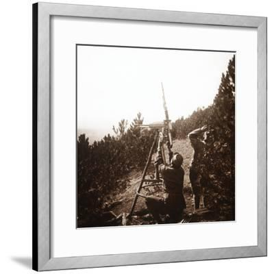 Anti-aircraft machine gun, Alace, France, c1914-c1918-Unknown-Framed Photographic Print
