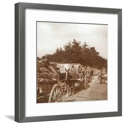 Troops in horse-drawn carts, Raux, France, c1914-c1918-Unknown-Framed Photographic Print