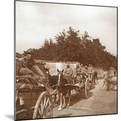 Troops in horse-drawn carts, Raux, France, c1914-c1918-Unknown-Mounted Photographic Print