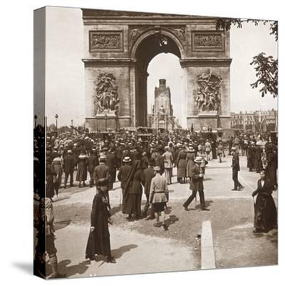 Victory celebration, civilians at the Arc de Triomphe, Paris, France, July 1919-Unknown-Stretched Canvas Print