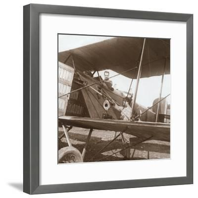 Pilot in biplane, c1914-c1918-Unknown-Framed Photographic Print