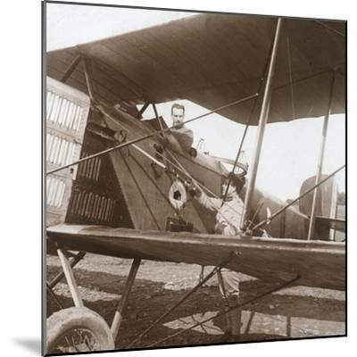 Pilot in biplane, c1914-c1918-Unknown-Mounted Photographic Print