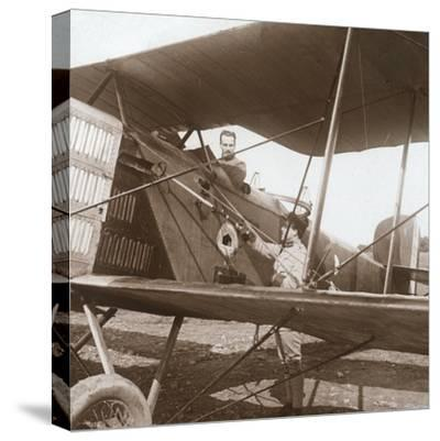 Pilot in biplane, c1914-c1918-Unknown-Stretched Canvas Print
