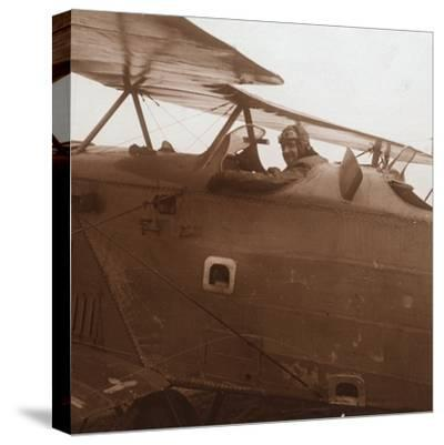 Breguet biplane taking off, c1914-c1918-Unknown-Stretched Canvas Print
