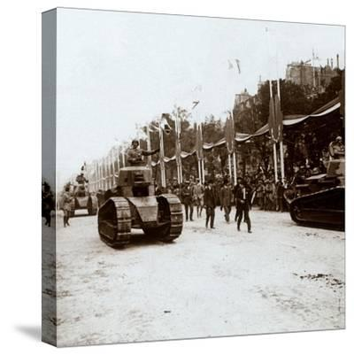 Small tanks, victory parade, Paris, France, c1918-c1919-Unknown-Stretched Canvas Print