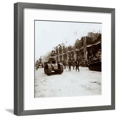 Small tanks, victory parade, Paris, France, c1918-c1919-Unknown-Framed Photographic Print