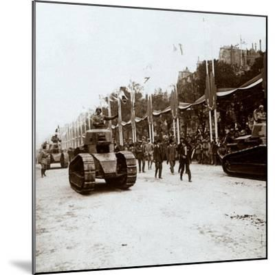 Small tanks, victory parade, Paris, France, c1918-c1919-Unknown-Mounted Photographic Print