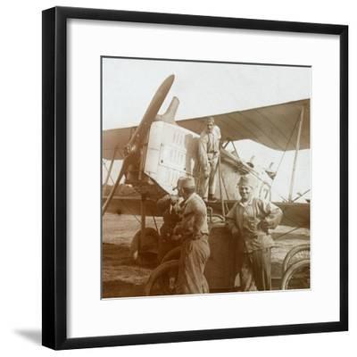 Refuelling biplane, c1914-c1918-Unknown-Framed Photographic Print