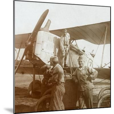 Refuelling biplane, c1914-c1918-Unknown-Mounted Photographic Print