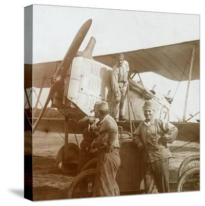 Refuelling biplane, c1914-c1918-Unknown-Stretched Canvas Print