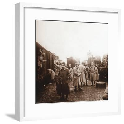 Soldiers going to the Somme, Epernay, northern France, c1914-c1918-Unknown-Framed Photographic Print