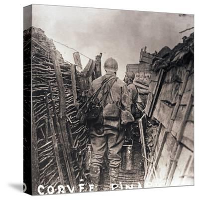 French soldiers on cooking duty in a trench, c1914-c1918-Unknown-Stretched Canvas Print