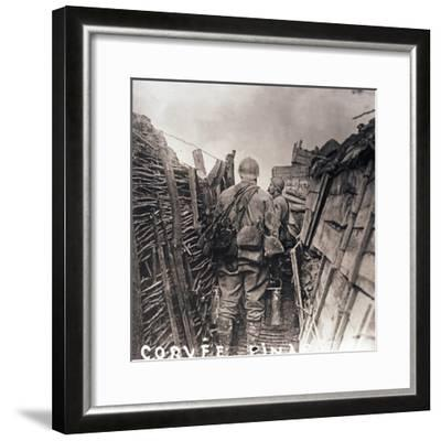 French soldiers on cooking duty in a trench, c1914-c1918-Unknown-Framed Photographic Print