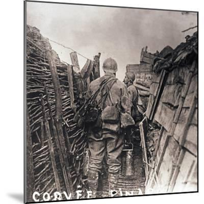 French soldiers on cooking duty in a trench, c1914-c1918-Unknown-Mounted Photographic Print