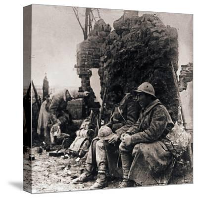 Soldiers among ruins, c1914-c1918-Unknown-Stretched Canvas Print