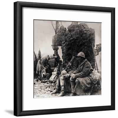 Soldiers among ruins, c1914-c1918-Unknown-Framed Photographic Print