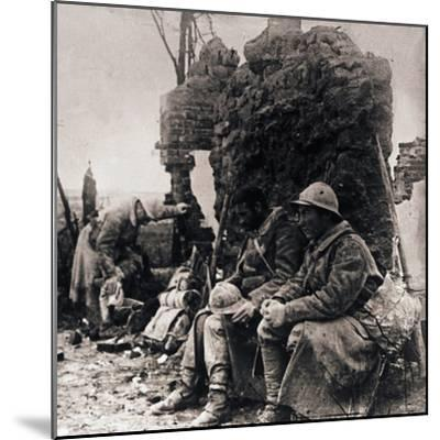 Soldiers among ruins, c1914-c1918-Unknown-Mounted Photographic Print