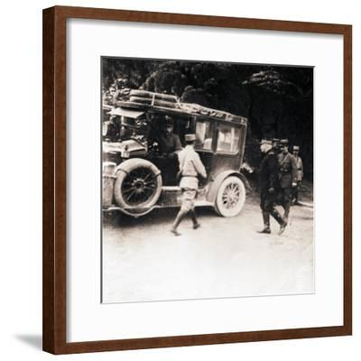 French officers and vehicle, c1914-c1918-Unknown-Framed Photographic Print
