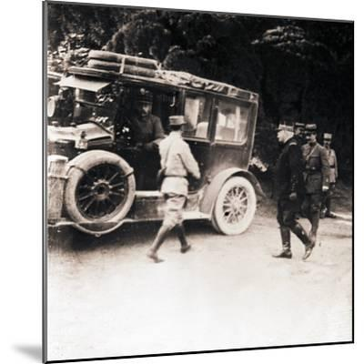 French officers and vehicle, c1914-c1918-Unknown-Mounted Photographic Print