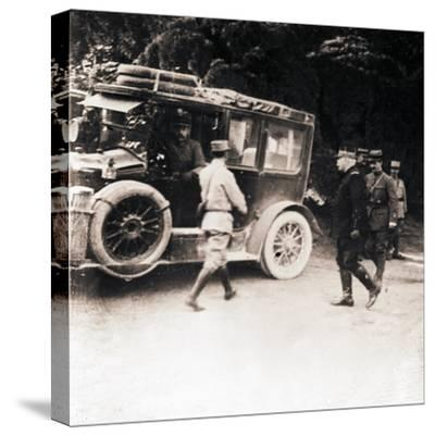 French officers and vehicle, c1914-c1918-Unknown-Stretched Canvas Print