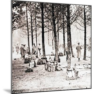 Soldiers and packs in woods, c1914-c1918-Unknown-Mounted Photographic Print