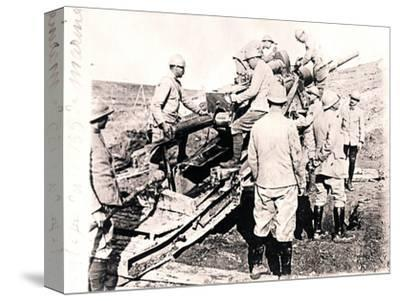 Loading shell into 155 mm gun, c1914-c1918-Unknown-Stretched Canvas Print