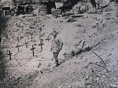 Soldier among wooden crosses, c1914-c1918-Unknown-Mounted Photographic Print