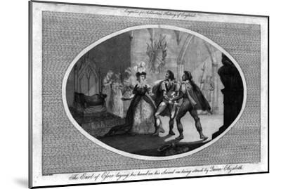 'The Earl of Essex laying his hand on his Sword on being struck by Queen Elizabeth.', (1792)-Unknown-Mounted Giclee Print