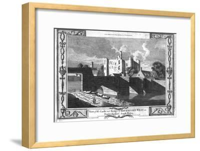 'View of the Castle and Bridge of Haverford West in Pembrokeshire.', late 18th century-Unknown-Framed Giclee Print