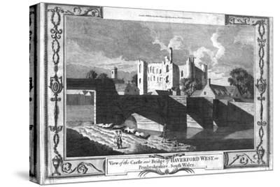 'View of the Castle and Bridge of Haverford West in Pembrokeshire.', late 18th century-Unknown-Stretched Canvas Print