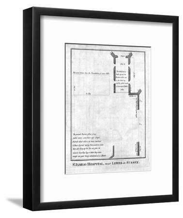 Plan of St James's Hospital near Lewes in Sussex, late 18th-early 19th century-Unknown-Framed Giclee Print